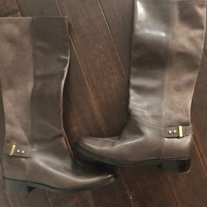 NEW.  Cole Haan gray boots 101/2. LEATHER/suede